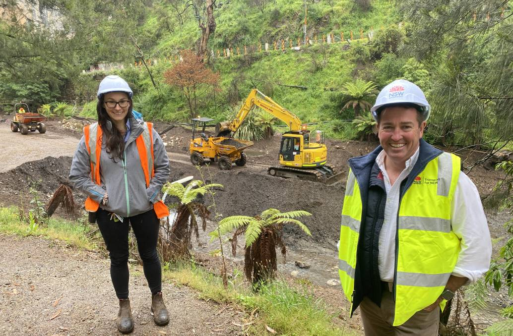 BLUE LAKE: Member for Bathurst Paul Toole with Jenolan Caves CEO Jodie Anderson at Blue Lake which is undergoing major upgrades to remove silt and construct a boardwalk around the idyllic tourist setting. Photo: SUPPLIED