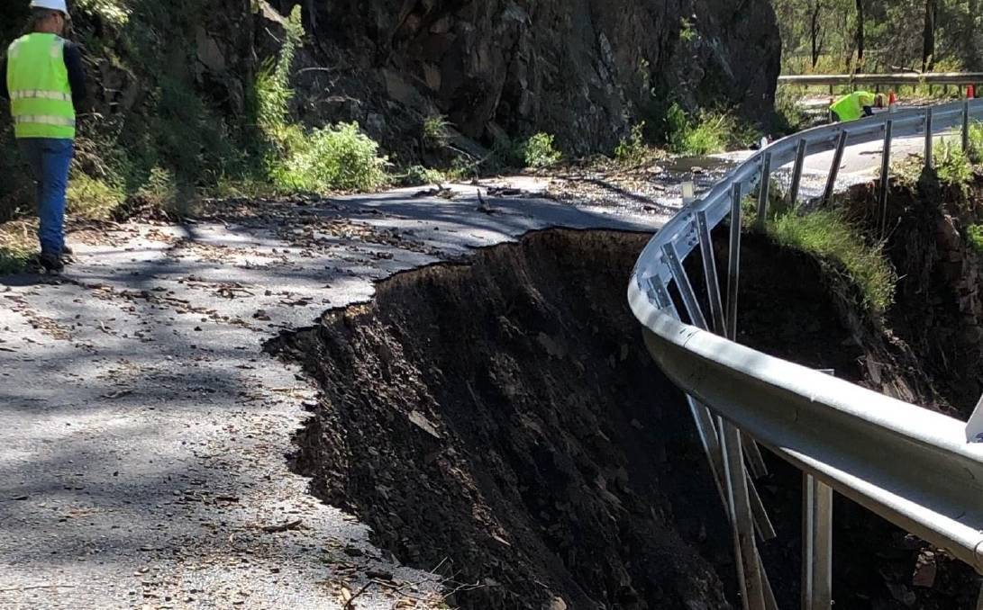 INSTABILITY: The Five Mile access road to Jenolan Caves has sustained considerable damage from the recent rain. Photo: TRANSPORT FOR NSW