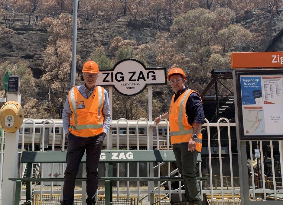 ZIG ZAG TRAINS: Howard Collins CEO of Sydney Trains onsite with member for Bathurst Paul Toole. Picture: SUPPLIED