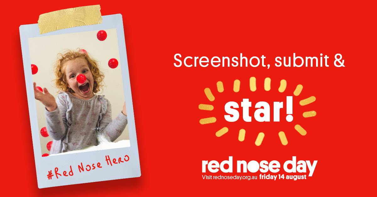 Get involved: Jump on Instagram or Facebook, snap a screenshot or download a video of your digital red nose and you can be a star on Red Nose Day. Photo: Supplied.