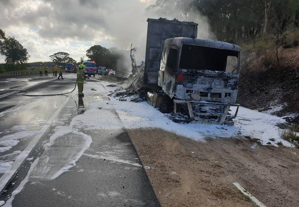 TRUCK FIRE: FRNSW and RFS crews were called to a truck fire at Little Hartley. Photo: Courtesy of FRNSW media.
