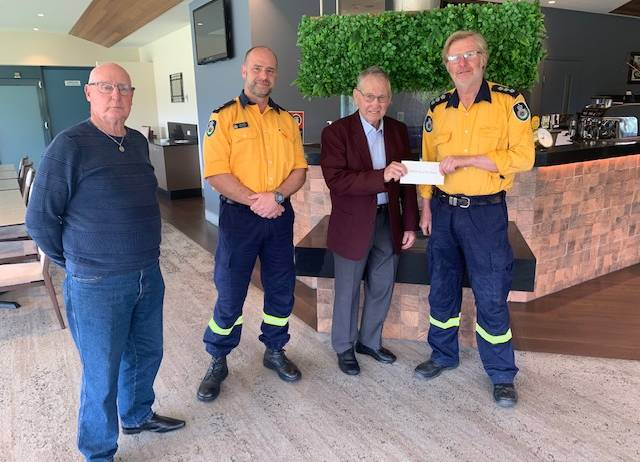 GRATEFUL: Lithgow Workmens Club President Howie Fisher, Lithgow RFS Gary Hanson, Lithgow Workmens Club Vice President Ray Warren and Lithgow RFS David Peters. Photo: SUPPLIED.